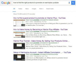 How to find products on warriorplus google