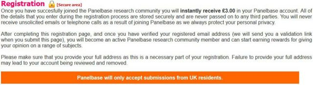 registering in panelbase