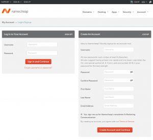 Namecheap Create an Account