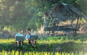 children laptop field