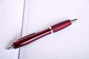 pen on planner
