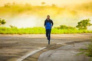 man running alone on road