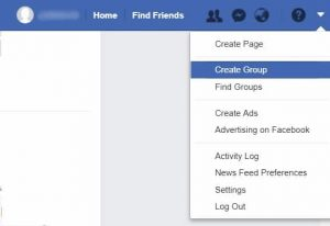 Facebook Menu - Create Group