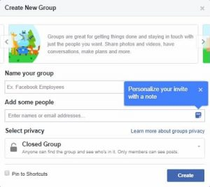 Facebook > Create New Group