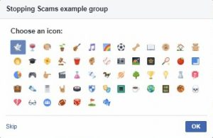 Facebook > Create group > Choose an icon