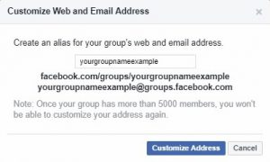 Facebook > Customize Web and Email Address