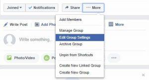 Facebook > Edit group settings