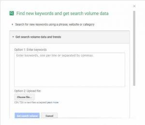 Google Keyword Planner: Search Volume