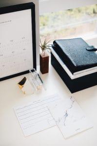 calendar planner on a neat desk