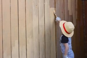 boy repainting fence