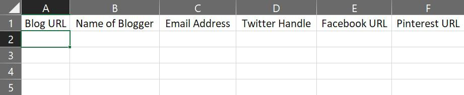 spreadsheet for taking note of influencer information
