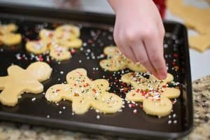 candy sprinkles on Christmas cookies