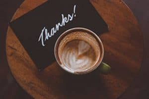 thank you note with coffee