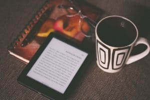ebook on a table with coffee