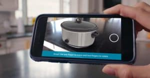 using Amazon AR View to position Instant Pot on kitchen counter
