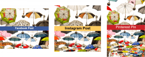Facebook, Instagram, and Pinterest image comparison