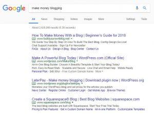 screenshot of search results using keyword 'make money blogging'
