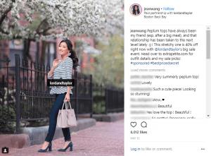 Sponsored Instagram post @jeanwang