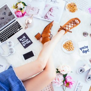 fashion blogger working