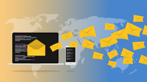 illustration of email newsletters going out into the world