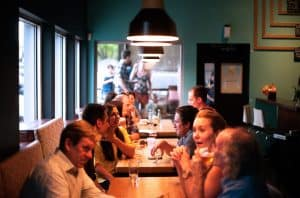 friends dining out in a restaurant