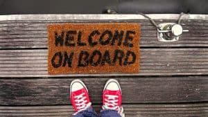 welcome mat with sneakers