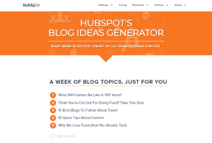 Screenshot of HubSpot's Blog Ideas Generator