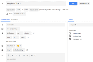 Screenshot of Google Calendar create event