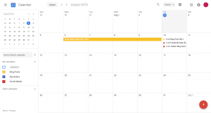 Screenshot of Google Calendar with writing schedule, blog post, and social media promotion schedules