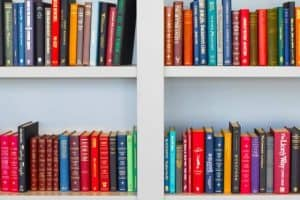 various books in separate shelves