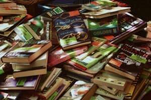clearance books in a bin