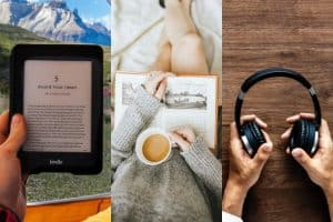 collage of images of a Kindle, a woman reading a paperback with a cup of coffee, and hands holding headphones
