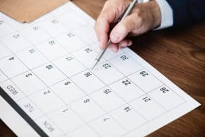 writing in calendar