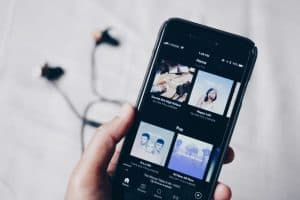 smartphone with Spotify app open