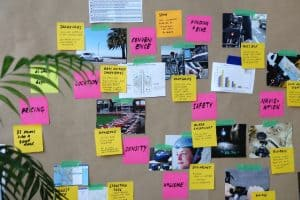 corkboard with photos and sticky notes about purchasing a bike