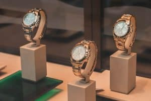 gold watches on display