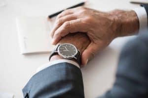 wristwatch on man's wrist