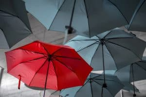 red umbrella in a sea of gray umbrellas