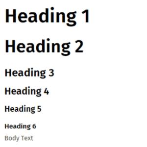 Headings 1 to 6 plus Body Text