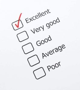 checkboxes beside 'Excellent', 'Very good', 'Good', 'Average', 'Poor'