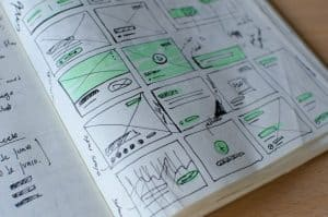 notebook open to page with various wireframes