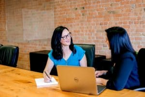 woman conducting a job interview on another woman
