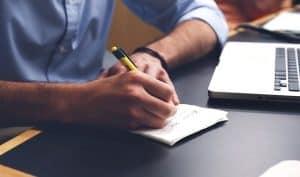 hand writing on desk