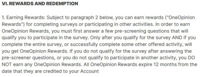 oneopinion rewards and redemption terms and conditions