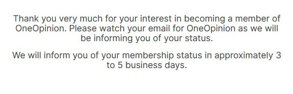 oneopinion signingup membership confirmation