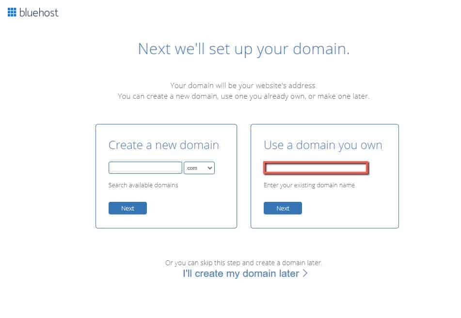 bluehost setup your domain page