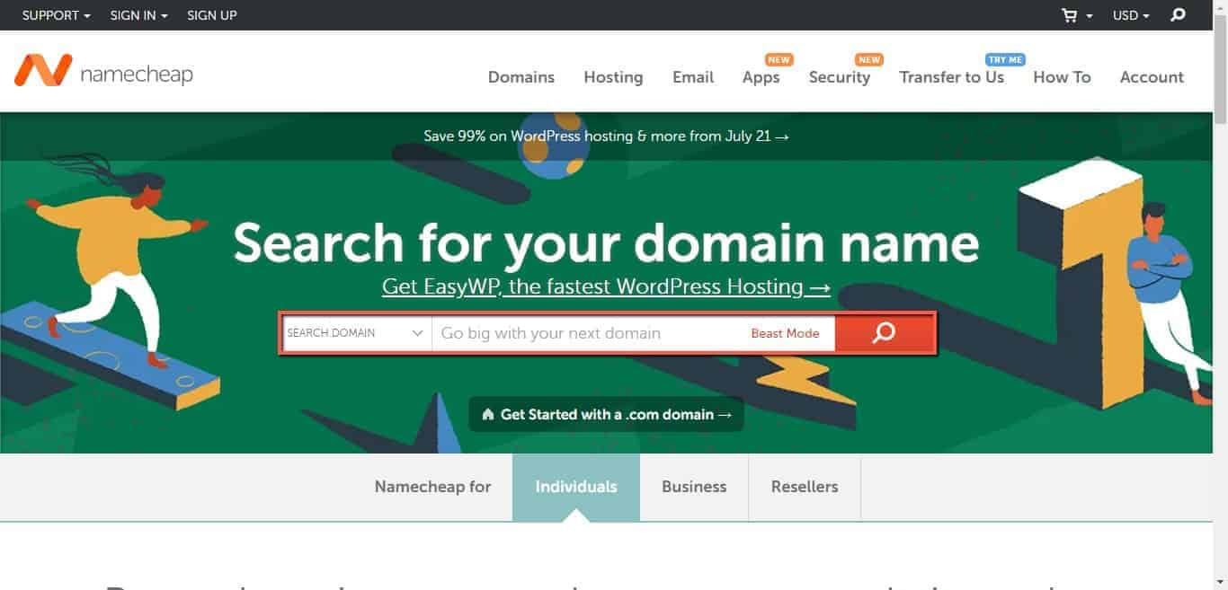 enter your selected domain name to check if it is available in namecheap
