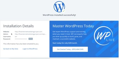 wordpress installation completed in bluehost